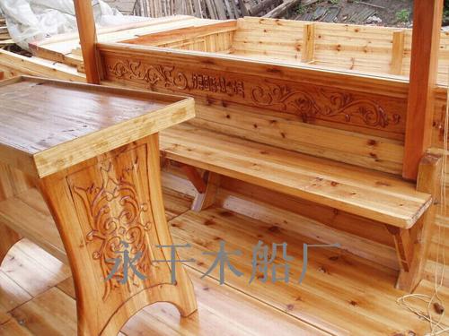 雕刻八仙过海单蓬木船内舱-木船制作 兴化市竹泓镇永干木船厂